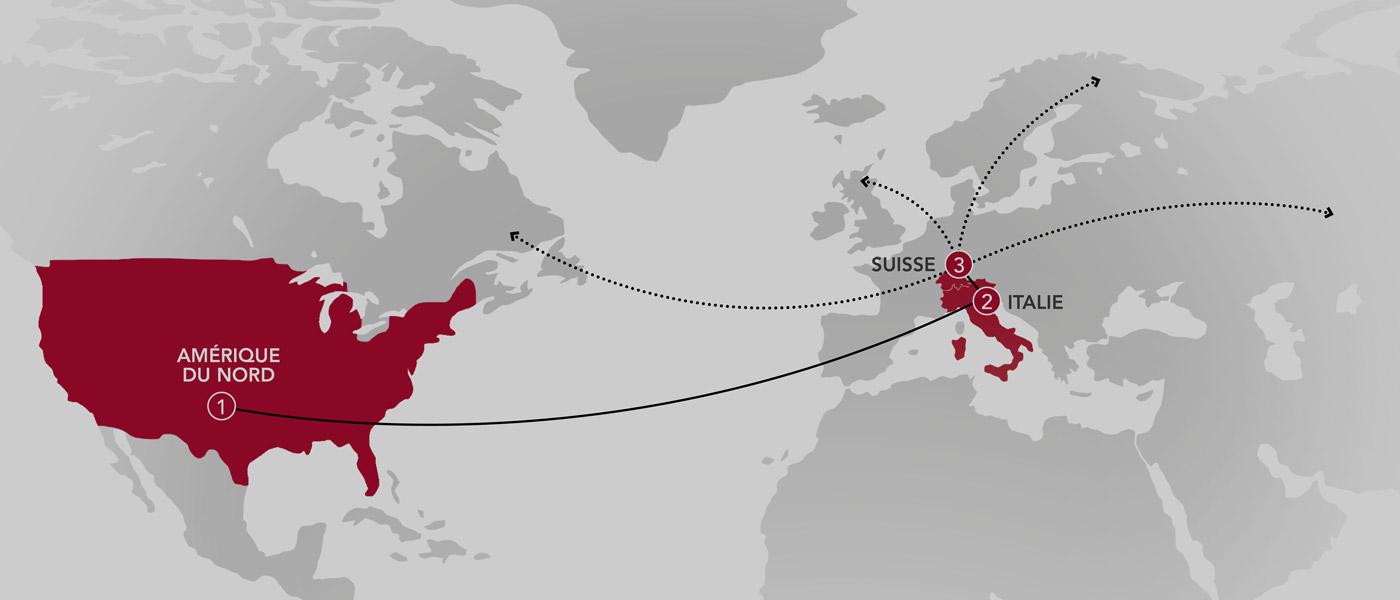 mappa europa ed esportazione in tutto il mondo